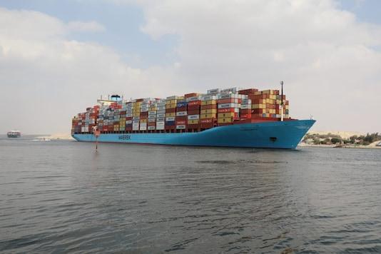A container ship sails at the Suez Canal, in Ismailia, Egypt March 31, 2021. Suez Canal Authority/Handout via REUTERS