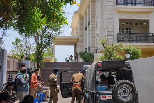 Security personnel outside DMK leader MK Stalin's daughter Senthamarai Stalin's residence during a raid by Income Tax, in Chennai, Friday, April 2, 2021. (PTI)