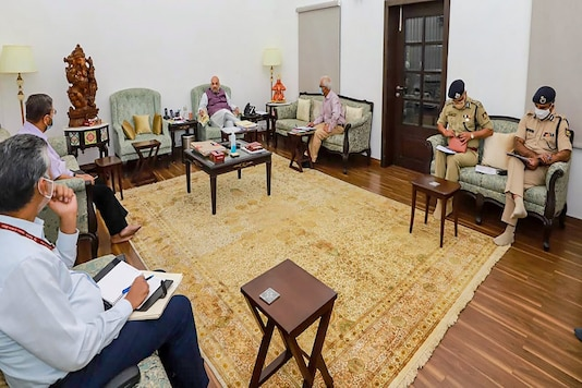 Union Home Minister Amit Shah holds a review meeting Chhattisgarh Naxal attack, in New Delhi, Sunday. (PTI)