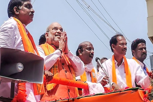 Union Home Minister Amit Shah during an election campaign ahead of Puducherry Assembly polls earlier this week. (PTI)