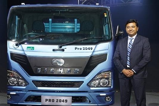 Vishal Mathur with Eicher Pro 2000 truck