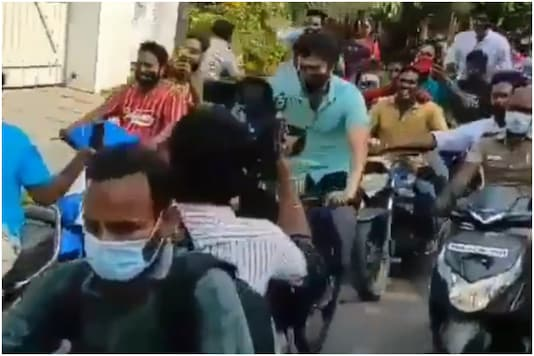 Actor Vijay seen cycling to the polling booth in Chennai
