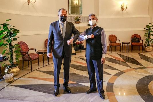 Foreign ministers Sergey Lavrov and S. Jaishankar. (PTI)
