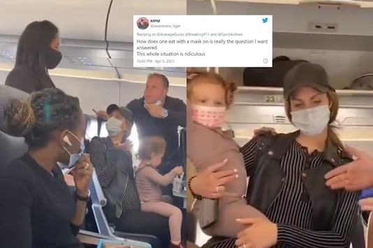Video grab of US family in the flight. (Credit: Twitter)