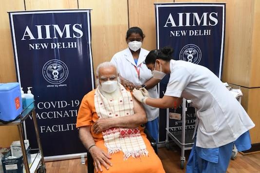 Prime Minister Narendra Modi gets his second dose of the Covid-19 vaccine at AIIMS, Delhi.
