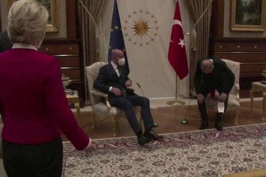 European Commission President Ursula von der Leyen was taken aback to find her fellow top EU official taking the only chair available next to Turkish President Tayyip Erdogan. (Reuters)