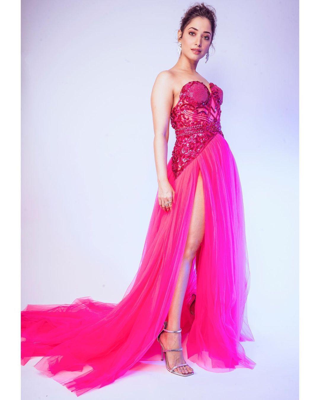 Tamannaah Bhatia looks breathtaking in the pink gown. (Image: Instagram)
