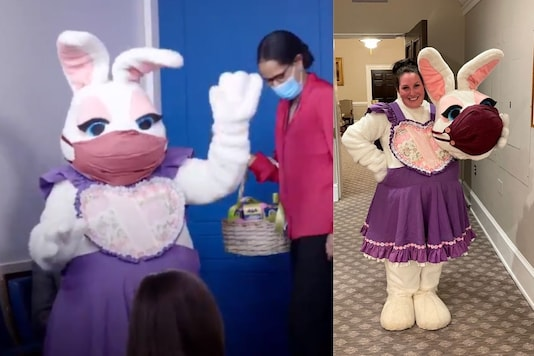 Meghan Hays, White House Director of Message and Planning dressed up as the Easter Bunny. (Credit: White House/Twitter)