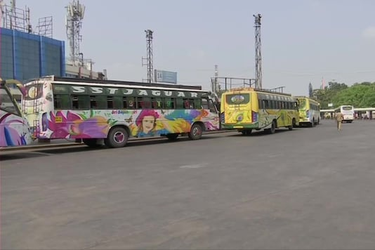 Bus services remain affected in Bengaluru for 4th day as Karnataka State Road Transport Corporation (KSRTC) employees go on indefinite strike over their demand for revised salary. (ANI Image)