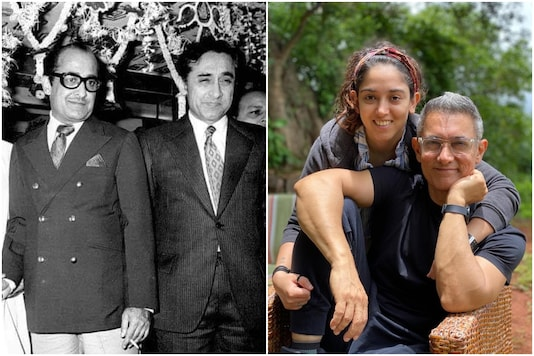 Left, in black and white, brothers Nasir and Tahir Hussain. Right, in colour,   Aamir Khan with daughter Ira.
