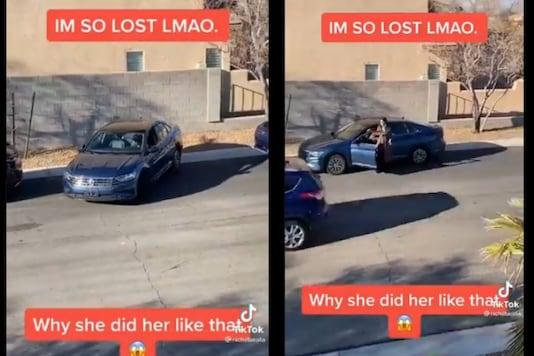 Video grab of woman parking car. (Credit: Twitter)