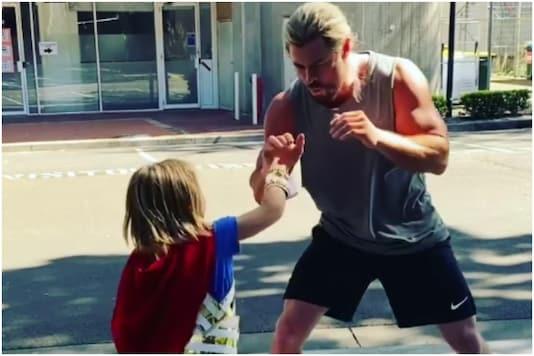 Chris Hemsworth and his son