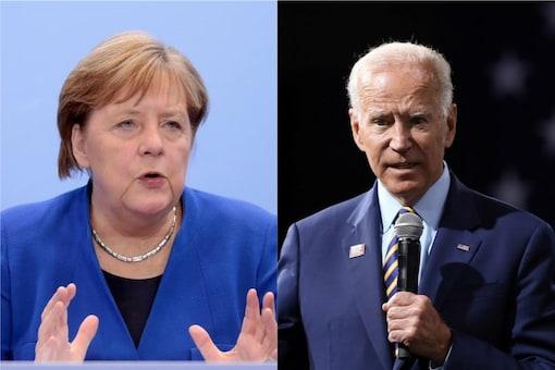 File photo of German Chancellor Angela Merkel and US President Joe Biden.