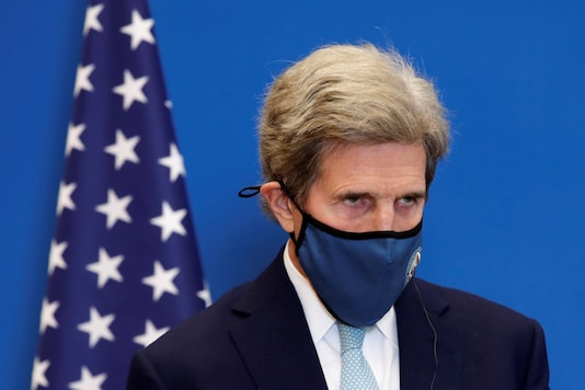 U.S. Special Presidential Envoy for Climate John Kerry attends a joint news conference in France, March 10, 2021. (Reuters)