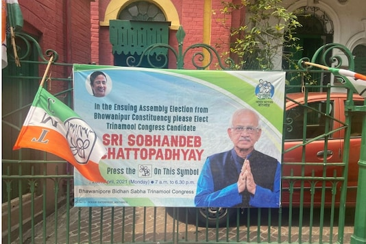 A TMC poster featuring veteran leader Sobhandeb Chattopadhyay.