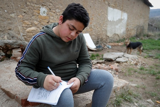 Mihaly Kovacs, a 12 year-old Hungarian boy, works on his homework outside his home in Bodvaszilas, Hungary.  (AP Photo/Laszlo Balogh)