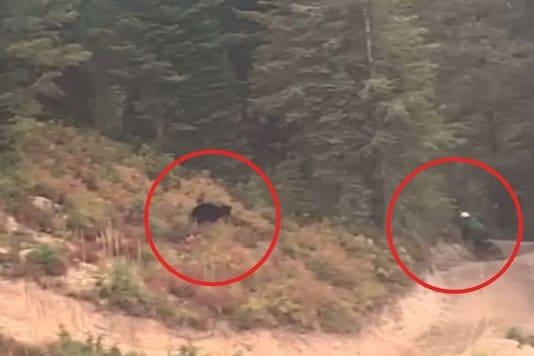 Video grab of black bear chasing down man in Montana. (Credit: Facebook)