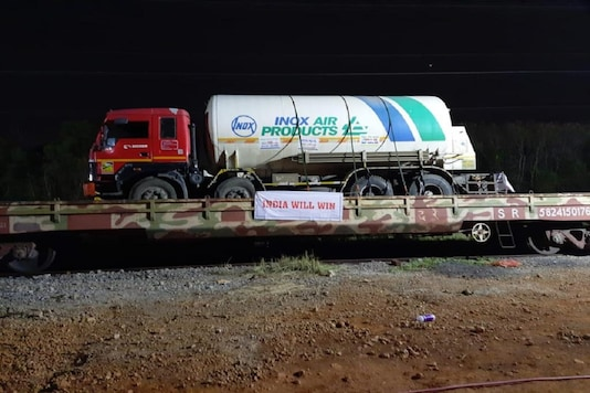 File: 'Oxygen Express' train loaded with liquid medical oxygen tankers has left for Maharashtra from Vizag.