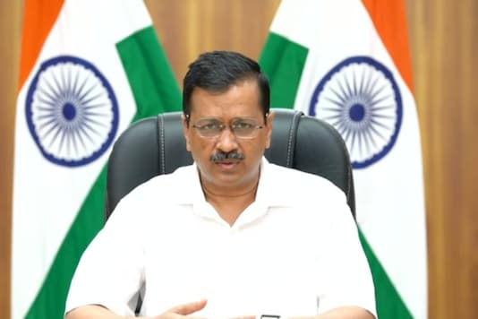 Arvind Kejriwal holds a press conference.