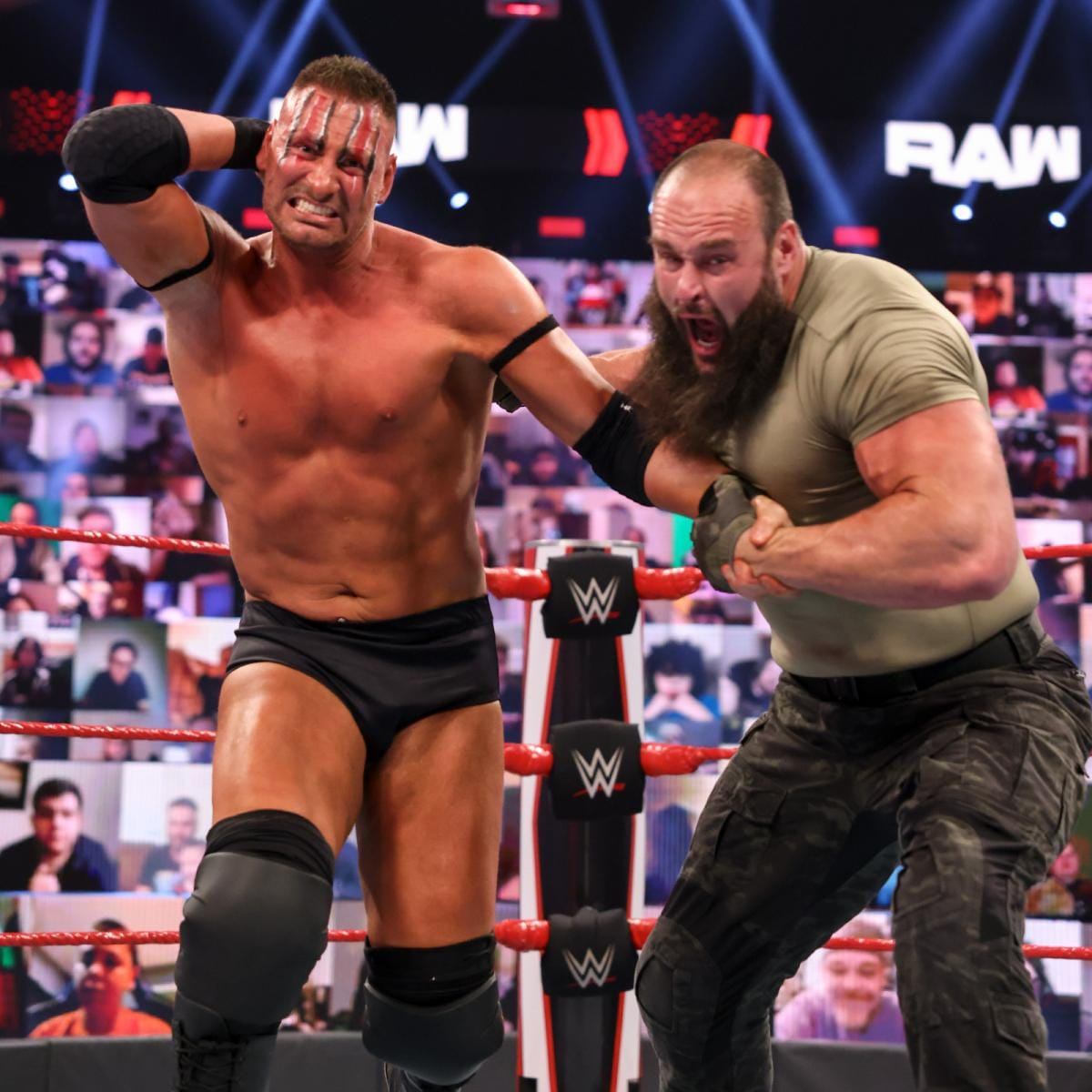Braun Strowman defeated MACE and T-BAR by disqualification – 1-on-2 Handicap Match (WWE)