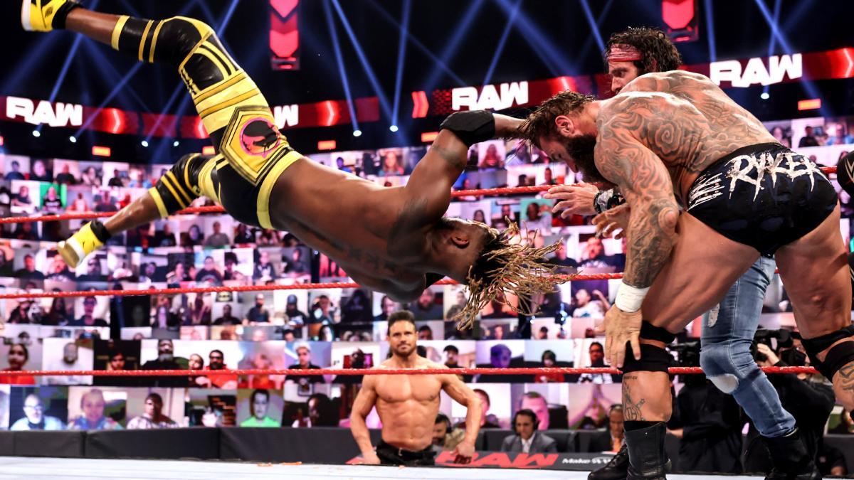 Damian Priest and The New Day defeated The Miz, Elias and Jaxson Ryker (WWE)