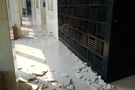 The quake caused damage to wall and false ceiling areas in Guwahati's lavish Taj Vivanta.