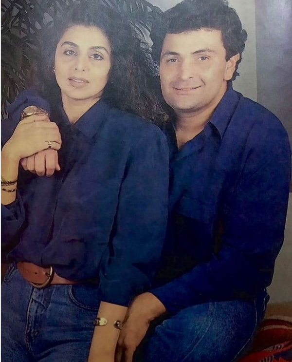 A throwback picture in which the couple looks fresh and vivacious twinning in a blue button-down.
