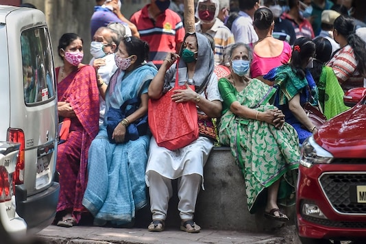 Senior citizens at a vaccination centre amid the Covid-19 pandemic,  in Mumbai on Tuesday. (PTI)
