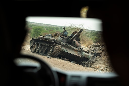 File photo of a destroyed tank during the fighting in Tigray
