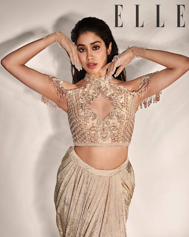 Janhvi Kapoor strikes a statusque pose in the muted gold outfit. (Image: Instagram)