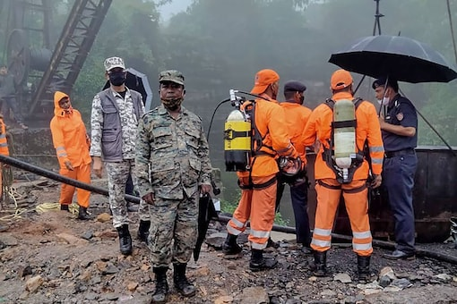 File photo of NDRF team members during a rescue operation as labourers are fear trapped in coal mine, in Jaintia Hills district. (PTI)