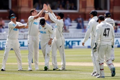 Tim Southee celebrates with teammates after taking a wicket (AFP Photo)