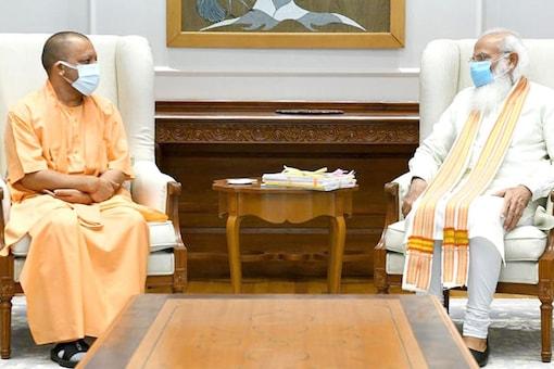 UP CM Yogi Adityanath meets PM Modi in Delhi on Friday. (Image: Twitter/ Yogi Adityanath)