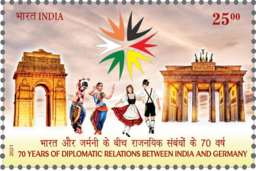 A stamp issued to mark 70 years of diplomatic ties between India and Germany. Image for representation.