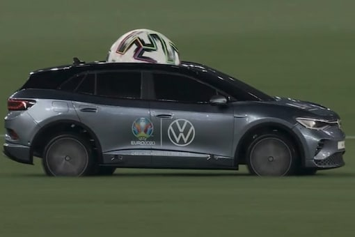 Euro 2020: Remote-controlled Car Delivers Match Ball for Italy vs Turkey, Fans in Splits. (Photo Credit: Twitter)