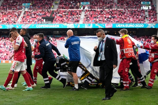 Christian Eriksen was taken out of the field after being given CPR. (Photo Credit: AP)