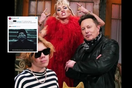 Elon Musk and Miley Cyrus on SNL/Screengrab of Miley Cyrus' tweet.