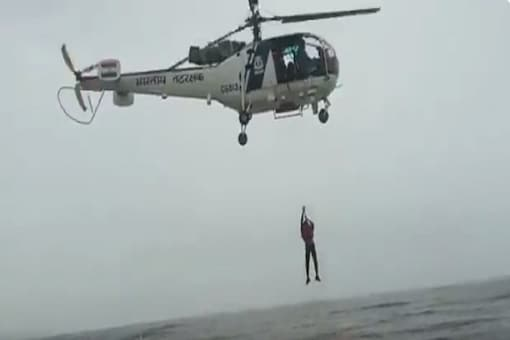 Screenshot from video tweeted by Indian Coast Guard (ICG).