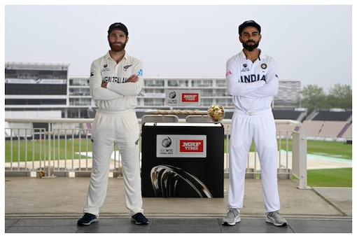 Virat Kohli and Kane Williamson pose with the ICC Test Championship Maze ahead if the WTC Final (BCCI Photo)