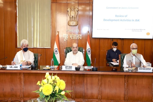 Union Home Minister Amit Shah chaired a meeting with Jammu and Kashmir LG and other top security officials. (Image: Twitter)