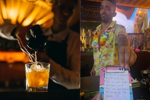 """Appreciating Max's shrewd tactic of saving her from the customer, Allie mentioned that he is exactly the type of bartender """"everyone needs."""" (Credit: @trinityallie/Twitter)"""