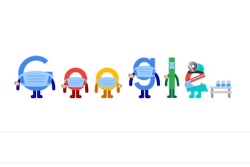 Animated Google Doodle on Tuesday encourages people to take vaccine, wear face masks.