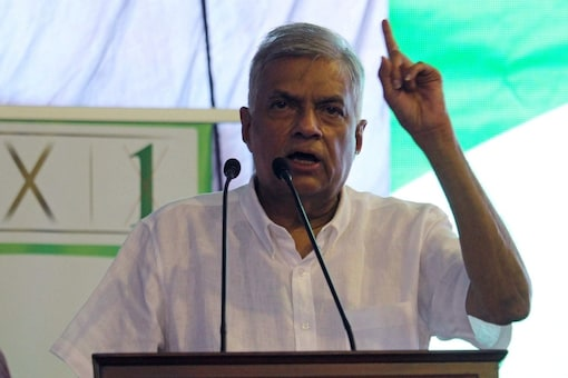 Ranil Wickremesinghe, leader of the United National Party speaks to his supporters during a campaign rally on the last day for rallies, ahead of country's parliamentary election scheduled for August 5, 2020, in Galle, Sri Lanka, August 2, 2020. REUTERS/Indunil Usgoda Arachchi