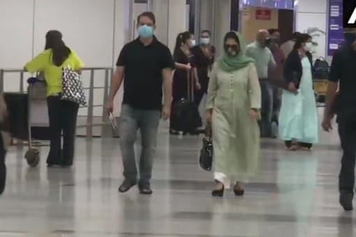 Mehbooba Mufti arrives in Delhi. (ANI)