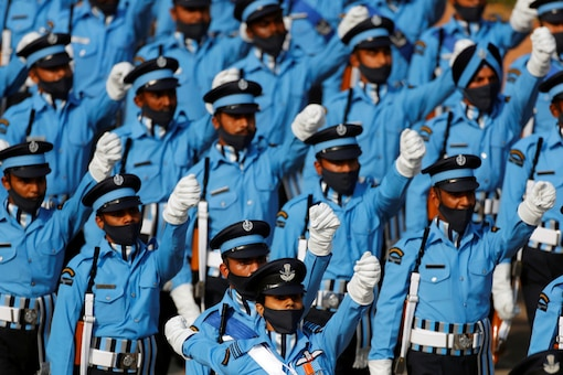 Indian Air Force soldiers march during Republic Day parade in New Delhi. Reuters/Adnan Abidi