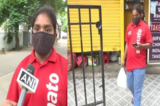 Hyderabad's M Rachana, has taken up food delivery agent's job to pursue Hotel Management and support her parents who work as daily labourers, (Credit: ANI/Twitter)