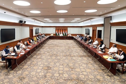 PM Modi at the meeting with Jammu and Kashmir parties, in Delhi. News18