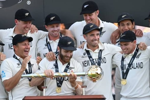 New Zealand captain Kane Williamson with the Test Mace (AFP Photo)