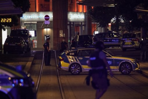 Police secures the city center in Wuerzburg, southern Germany on June 25. (Image: AFP)