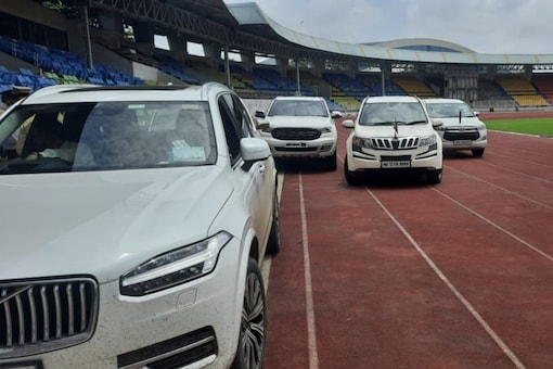 Cars parked inside Shiv Chhatrapati Sports Complex (Twitter)